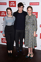 "Annes Elwy, Jonah Hauer-King and Maya Hawke<br /> arriving for the ""Little Women"" screening at the Soho Hotel, London<br /> <br /> <br /> ©Ash Knotek  D3360  11/12/2017"