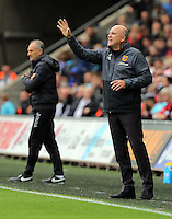 L-R Francesco Guidolin, Manager of Swansea City and Manager of Hull City, Mike Phelan during the Premier League match between Swansea City and Hull City at the Liberty Stadium, Swansea on Saturday August 20th 2016