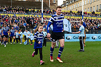 Will Chudley of Bath Rugby mascot in hand runs out onto the field. Gallagher Premiership match, between Bath Rugby and Harlequins on March 2, 2019 at the Recreation Ground in Bath, England. Photo by: Patrick Khachfe / Onside Images