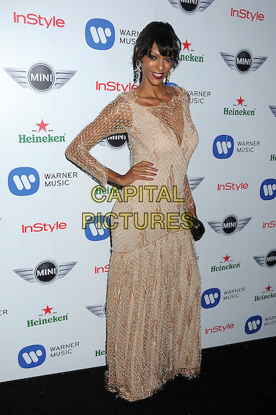 Judi Shekoni.Warner Music Group 2013 Grammy Celebration held at The Chateau Marmont, West Hollywood, California, USA..February 10th, 2013.full length beige lace dress gold netting hand on hip.CAP/ADM/BP.©Byron Purvis/AdMedia/Capital Pictures.