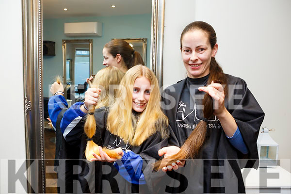 Mother and Daughter Louise Bergin and Emily May O'Connor have both  cut 14 inches off their hair for the Rapunzel Foundation at Vogue Hair & Beauty on Tuesday