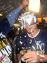 Norichika Aoki (Royals),<br /> OCTOBER 15, 2014 - MLB : Norichika Aoki of the Kansas City Royals celebrates with champagne after winning the Major League Baseball American League championship series Game 4 at Kauffman Stadium in Kansas City, Missouri, USA. <br /> (Photo by AFLO)