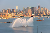 "WEEHAWKEN, NJ - JULY 4: FDNY fire boat Marine 1 ""Three Forty Three"" puts on a water show on the Hudson river prior to the annual Macy's Fourth of July fireworks on Monday, July 4, 2011."