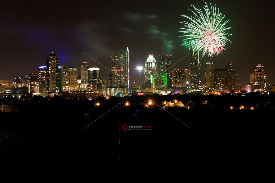 Fireworks over downtown Austin, Texas, 4th of July
