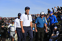 Bryson Dechambeau and Tiger Woods (Team USA) walk to the 12th tee during Saturday's Foursomes Matches at the 2018 Ryder Cup 2018, Le Golf National, Ile-de-France, France. 29/09/2018.<br /> Picture Eoin Clarke / Golffile.ie<br /> <br /> All photo usage must carry mandatory copyright credit (© Golffile | Eoin Clarke)