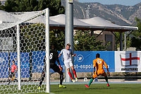 Joe Worrall of England heads the ball into the Ivory Coast penalty area during England Under-18 vs Ivory Coast Under-20, Toulon Tournament Final Football at Stade de Lattre-de-Tassigny on 10th June 2017