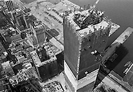July 1970, Manhattan, New York City, New York State, USA --- Aerial view of construction underway on one of the towers of the future World Trade Center in downtown Manhattan which, when completed, will be the world's highest building. --- Image by © JP Laffont