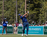 Tony Romo hits a tee shot on the 18th hole during the ACC Golf Tournament at Edgewood Tahoe Golf Course in South Lake Tahoe on Sunday, July 14, 2019.