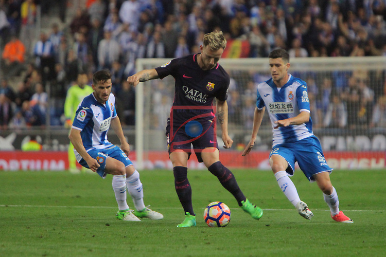 League Santander 2016/2017. Game: 35.<br /> RCD Espanyol vs FC Barcelona: 0-3.<br /> Pablo Piatti, Ivan Rakitic &amp; Aaron.