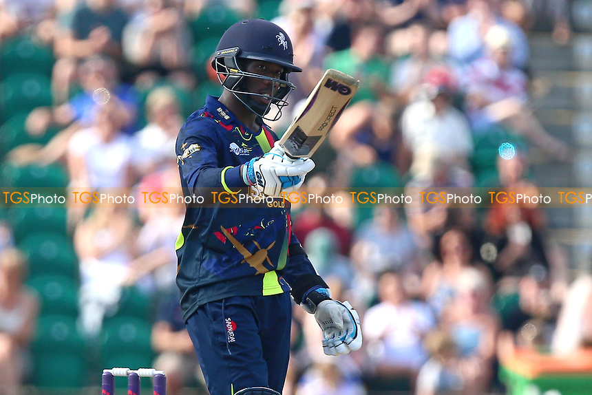 Daniel Bell-Drummond of Kent celebrates scoring a half-century, 50 runs during Kent Spitfires vs Essex Eagles, NatWest T20 Blast Cricket at The County Ground on 9th July 2017