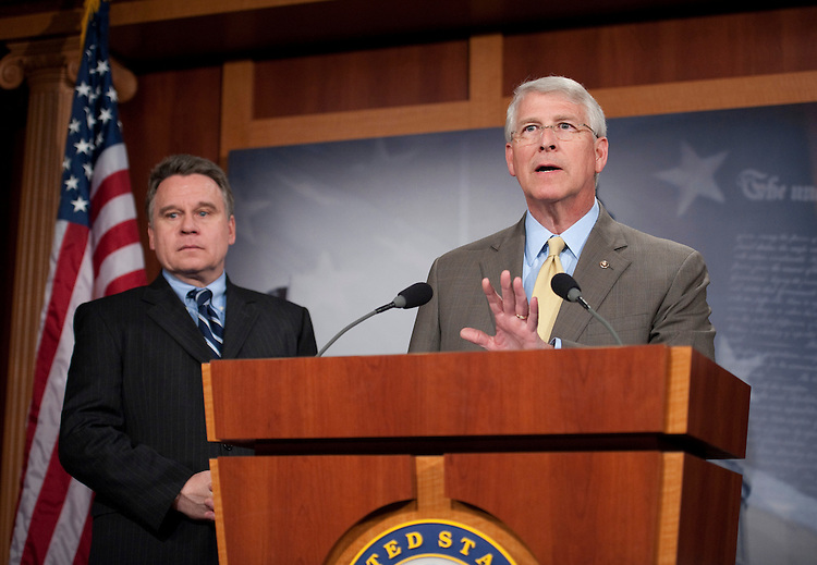 WASHINGTON, DC - May 05: U.S. Rep. Christopher H. Smith, R-N.J., and U.S. Sen. Roger Wicker, R-Miss., during a news conference on legislation they favor which is aimed at strengthening the ban on the use of federal funds for abortions. (Photo by Scott J. Ferrell/Congressional Quarterly)
