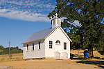 Historic and restored St. Peter and St. Paul Church at its new site by the Kennedy Mine (originally built at the small town of Clinton and moved), Amador County, Calif.
