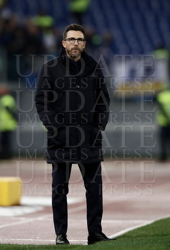 Calcio, Serie A: AS Roma - Atalanta, Roma, stadio Olimpico, 6 gennaio 2018.<br /> AS Roma's Eusebio Di Francesco looks on during the Italian Serie A football match between AS Roma and Atalanta at Rome's Olympic stadium, January 6 2018.<br /> UPDATE IMAGES PRESS/Isabella Bonotto