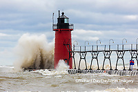 64795-02214 South Haven Lighthouse with high waves crashing South Haven,  MI