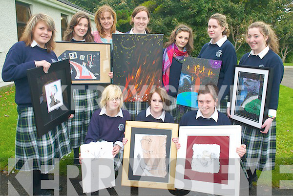 ART ATTACK: Students of Presentation Secondary School, Tralee, who will be display their works of art in the 'Re-Marked' exhibition at the Samhlaiocht Gallery, front l-r: Kate Tuohy, Noranne Gleeson, Meaghan Nolan. Back l-r: Greta Lelyte, Claire Farrell, Lillie O'Sullivan (Art Teacher), Sally O'Rourke, Maria Panuli, Mary Dillane, Maria Dennehy.   Copyright Kerry's Eye 2008