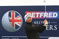 Ashun Wu (CHN) on the 10th tee during the Pro-Am of the Betfred British Masters 2019 at Hillside Golf Club, Southport, Lancashire, England. 08/05/19<br /> <br /> Picture: Thos Caffrey / Golffile<br /> <br /> All photos usage must carry mandatory copyright credit (&copy; Golffile | Thos Caffrey)