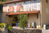 The winery at Domaine Barge with wall fresco paintings. Ampuis, Cote Rotie, Rhone, France, Europe