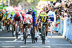 Caleb Ewan (AUS) Lotto-Soudal just pips Dylan Groenewegen (NED) Team Jumbo-Visma by centimetres for the sprint finish of Stage 11, with Elia Viviani (ITA) Deceuninck-Quick Step having the best view, of the 2019 Tour de France running 167km from Albi to Toulouse, France. 17th July 2019.<br /> Picture: ASO/Pauline Ballet | Cyclefile<br /> All photos usage must carry mandatory copyright credit (© Cyclefile | ASO/Pauline Ballet)
