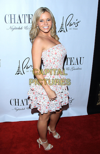 Bree Olson .celebrates her August Playboy cover at Chateau Nightclub inside Paris,  Las Vegas, Nevada USA, 26th August 2011..full length flower pattern strapless white pink floral print dress tiered layered layers  side.CAP/ADM/MJT.© MJT/AdMedia/Capital Pictures.