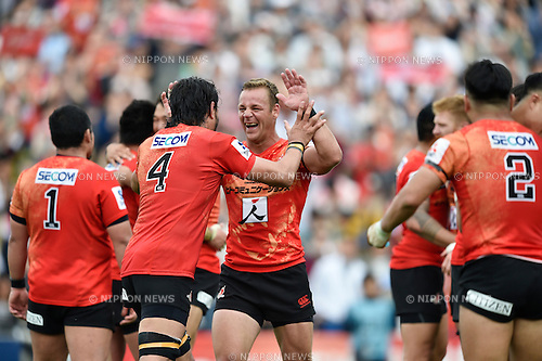 Riaan Viljoen (Sunwolves), April 23, 2016 - Rugby : Riaan Viljoen of Sunwolves celebrates after winning the Super Rugby match between Sunwolves 38-26 Jaguares at Prince Chichibu Memorial Stadium in Tokyo, Japan. (Photo by Yuka Shiga/AFLO)