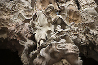 Nativity scene, sculptures by Jaume Busquets, Charity hallway, Nativity façade, La Sagrada Familia, Roman Catholic basilica, Barcelona, Catalonia, Spain, built by Antoni Gaudí (Reus 1852 ? Barcelona 1926) from 1883 to his death. Still incomplete. Picture by Manuel Cohen