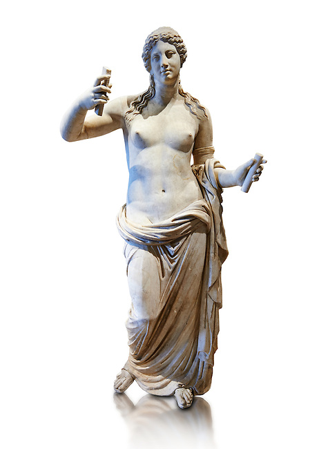 Aphrodite- type known as the Venus of Arles. A Roman statue in marble of the 1st - 2nd century AD in marble from Rome. The statue is a 1.94-metre-high (6.4ft) and is  probably a copy of the Aphrodite of Thespiae a lost bronze sculpture by 4th century BC Greek Athenian sculpture Praxiteles . From the Royal collection Inv MR 366 ( or Ma 437), Louvre Museum, Paris.