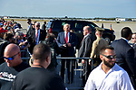 WEST PALM BEACH, FL - FEBRUARY 17: U.S. President Donald J. Trump shake hand with supporters after arrives on Air Force One at the Palm Beach International airport as they prepare to spend part of the weekend at Mar-a-Lago resort on February 17, 2017 in West Palm Beach, Florida. After touring and meeting with Dennis Muilenburg Chairman of the Board, President, and CEO of the Boeing Company in North Charleston, South Carolina.  President Trump schedule to hold a campaign rally tomorrow at Melbourne Florida. ( Photo by Johnny Louis / jlnphotography.com )