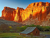 Pioneer Barn and cliffs  Fruita Barn  Capitol Reef National Park, Utah  Waterpocket Fold  Fruita Morman settlement  Fremont River