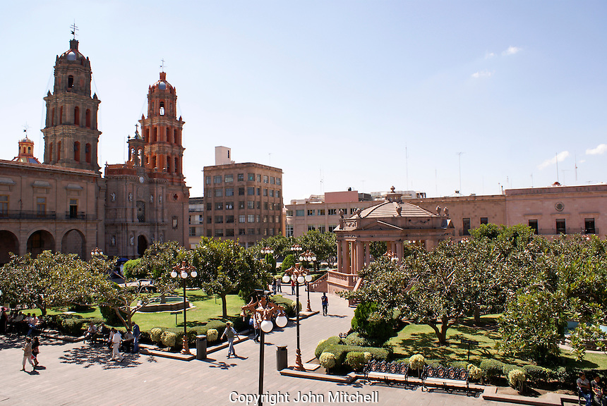 The Plaza de Armas in the city of San Luis de Potosi, Mexico