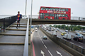 Traffic on the North Circular Road at Brent Cross, London.
