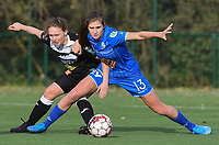 20191116 – WONDELGEM, BELGIUM : Gent's Marie Minnaert (R) and Aalst's Tiana Andries (L) pictured during a women soccer game between AA Gent Ladies and Eendracht Aalst in the ¼  quarter finals of the Belgium Women's Cup Competition  season 2019-2020 , saturday 16 th November 2019 at the Neptunus site stadium in Wondelgem,  Gent  , Belgium  .  PHOTO SPORTPIX.BE | DIRK VUYLSTEKE