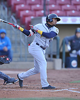 Burlington Bees second baseman Gleyvin Pineda (8) swings at a pitch against the Cedar Rapids Kernels at Veterans Memorial Stadium on April 13, 2019 in Cedar Rapids, Iowa.  Kernels won 2-1.  (Dennis Hubbard/Four Seam Images)