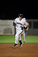 Aberdeen IronBirds Adley Rutschman (35) rounds the bases after hitting a home run during a NY-Penn League game against the Vermont Lake Monsters on August 19, 2019 at Leidos Field at Ripken Stadium in Aberdeen, Maryland.  Aberdeen defeated Vermont 6-2.  (Mike Janes/Four Seam Images)
