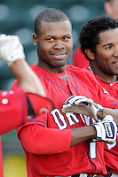 Outfielder/center fielder Manuel Margot (2) of the Greenville Drive waits his turn for batting practice on the team's Media Day first workout on Tuesday, April 1, 2014, at Fluor Field at the West End in Greenville, South Carolina. Margot is the Boston Red Sox No. 13 prospect, according to Baseball America. (Tom Priddy/Four Seam Images)