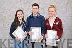 L-R Juliet O'Shea, Shane Buckley and Roisin Houston from Sliabh Luchra Secondary School in Rathmore after receiving their 500+ points Leaving Cert results last Wednesday morning.