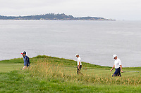 Zach Johnson (USA), Martin Kaymer (GER), and Ernie Els (RSA) make their way down 8 during round 1 of the 2019 US Open, Pebble Beach Golf Links, Monterrey, California, USA. 6/13/2019.<br /> Picture: Golffile | Ken Murray<br /> <br /> All photo usage must carry mandatory copyright credit (© Golffile | Ken Murray)