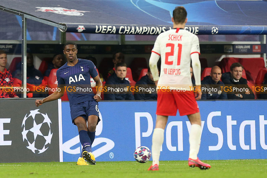 Malachi Walcott of Tottenham Hotspur and Patrik Schick of RB Leipzig during RB Leipzig vs Tottenham Hotspur, UEFA Champions League Football at the Red Bull Arena on 10th March 2020