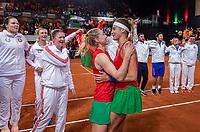 The Hague, The Netherlands, Februari 8, 2020,    Sportcampus, FedCup  Netherlands -  Balarus, Doubles: Team Belarus celebrate their win over the Netherlands 3-2Belarus<br /> Photo: Tennisimages/Henk Koster