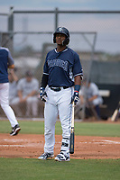 AZL Padres 2 first baseman Jason Pineda (39) during an Arizona League game against the AZL Padres 1 at Peoria Sports Complex on July 14, 2018 in Peoria, Arizona. The AZL Padres 1 defeated the AZL Padres 2 4-0. (Zachary Lucy/Four Seam Images)