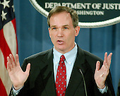 "Washington, DC - October 28, 2005 -- Special Counsel Patrick J. Fitzgerald, holds a press conference to discuss his 5-count indictment against Vice President Dick Cheney's chief of staff, I. Lewis ""Scooter"" Libby in the illegal disclosure of undercover Central Intelligence Agency (CIA) officer Valerie Plame's identity, in Washington, DC, on October 28, 2005. .Credit: Ron Sachs / CNP.(RESTRICTION: NO New York or New Jersey Newspapers or newspapers within a 75 mile radius of New York City)"