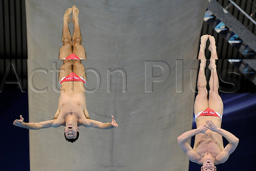 23.02.2012 London, England. David BOUDIA (USA) and Nick MCCRORY (USA) of America in action during the Mens Synchronised 10m Platform Final on Day 4 of the 18th FINA Visa Diving World Cup 2012 at the Olympic Park Aquatics Centre. (2012 Olympics test event, part of the London Prepares Series).