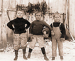 East McKeesport PA:  Three boys from Brady Stewart's neighborhood getting ready for a football game - 1902