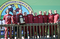 20 November 2006: David Vidal, Peter Tegan, Alicia Follmar, Kate Niehaus, Teresa McWalters, Lindsay Flacks, Katy Trotter, Amanda Trotter, Lauren Centrowitz, and Arianna Lambie accept the championship trophy during the 2007 NCAA women's cross country championships in Terre Haute, IN.
