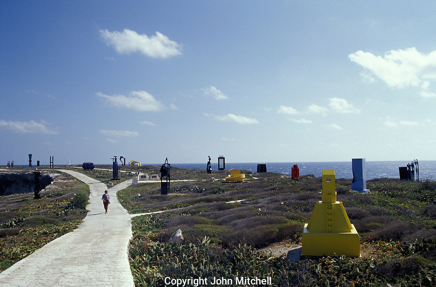 The Punta Sur Sculpture Garden in Parque Garrafon on Isla Mujeres, Quintana Roo, Mexico. This open-air sculpture garden opened in 2001. Sculptures by 23 Mexican and foreign plastic artists are on display.