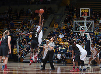 Reshanda Gray of California tips off during the game against Stanford at Haas Pavilion in Berkeley, California on February 2nd 2014.   Stanford defeated California, 79-64.