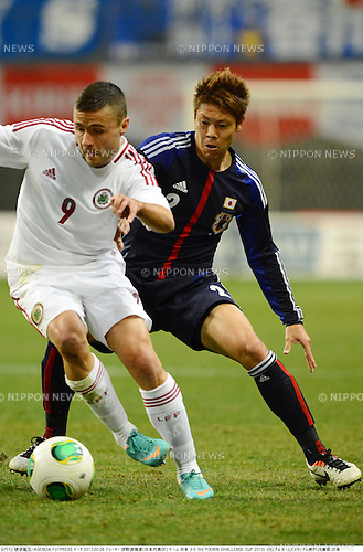 Maris Verpakovskis (LAT), Masahiko Inoha (JPN),.FEBRUARY 6, 2013 - Football / Soccer :.Kirin Challenge Cup 2013 match between Japan 3-0 Latvia at Home's Stadium Kobe in Hyogo, Japan. (Photo by Takamoto Tokuhara/AFLO)