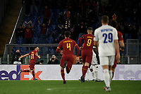 Football Soccer: UEFA Europa League round of 32 first leg AS Roma vs KAA Gent, Olympic stadium, Rome, 20 February, 2020.<br /> Roma's Carles Pérez (l) celebrates after scoring during the Europa League football match between Roma and Gent at the Olympic stadium in Rome on 20 February, 2020.<br /> UPDATE IMAGES PRESS/Isabella Bonotto