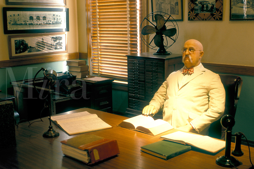 State Capitol, Phoenix, State House, Arizona, AZ, A wax figure of the Governor Hunt the first governor of Arizona in his office inside the Arizona State Capitol Museum in the capital city of Phoenix.