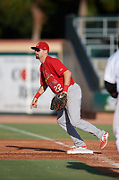 Palm Beach Cardinals first baseman Stefan Trosclair (22) during a game against the Jupiter Hammerheads on August 4, 2018 at Roger Dean Chevrolet Stadium in Jupiter, Florida.  Palm Beach defeated Jupiter 7-6.  (Mike Janes/Four Seam Images)