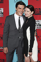 HOLLYWOOD, LOS ANGELES, CA, USA - OCTOBER 05: Finn Wittrock, Sarah Roberts arrive at the Los Angeles Premiere Screening Of FX's 'American Horror Story: Freak Show' held at the TCL Chinese Theatre on October 5, 2014 in Hollywood, Los Angeles, California, United States. (Photo by Celebrity Monitor)